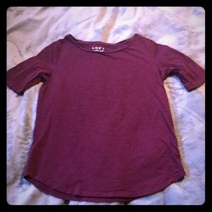 LOFT Vintage Soft Deep Wine Tee Medium